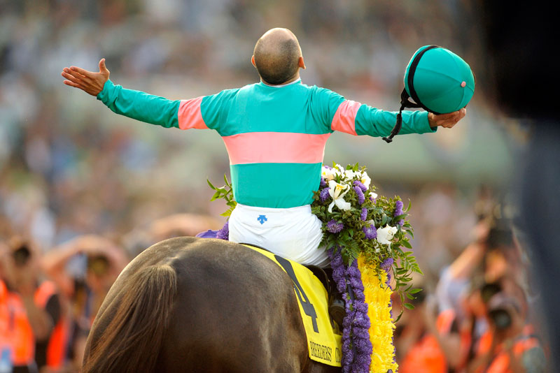 Zenyatta and jockey with his arms outstretched.
