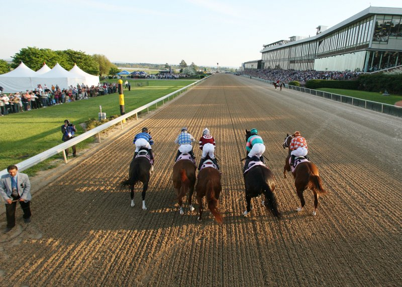Photo from behind of Zenyatta as a race starts.