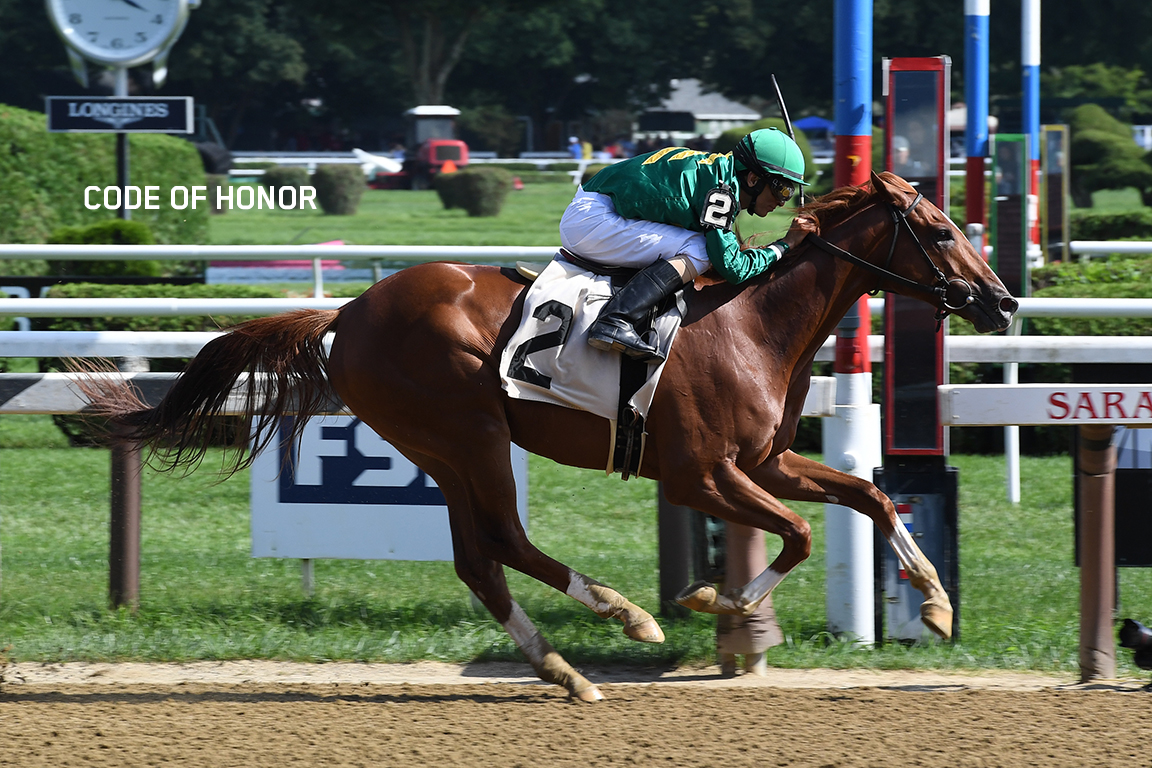 Code of Honor wins at Saratoga